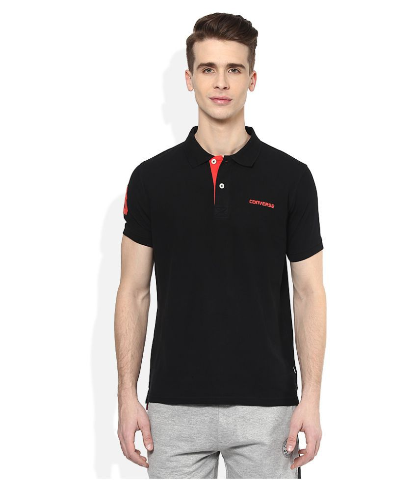 affd46cf7327 Converse Black Regular Fit Polo T Shirt - Buy Converse Black Regular Fit  Polo T Shirt Online at Low Price - Snapdeal.com