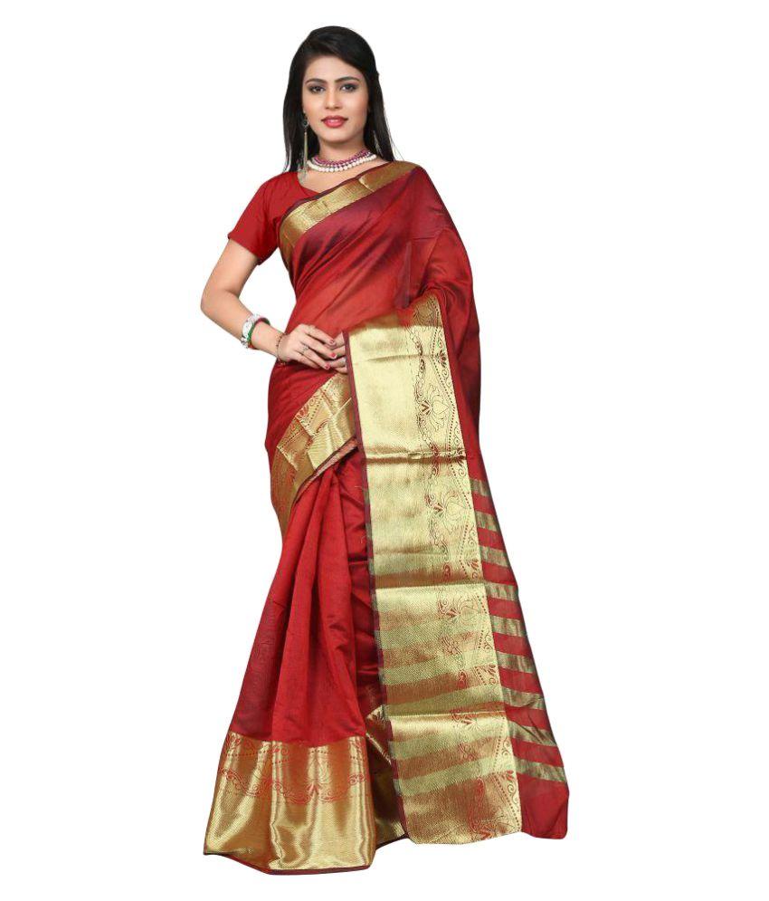 Ladies Flavour Red Banarasi Silk Saree
