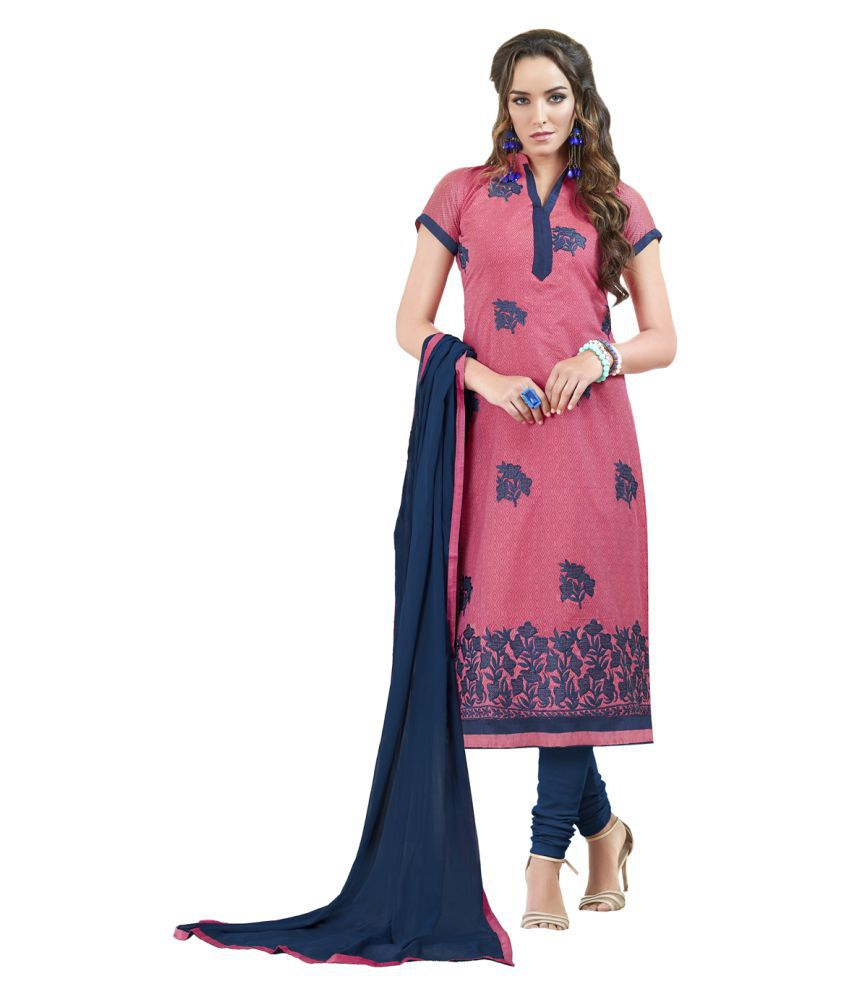 Maroosh Pink Chanderi Dress Material