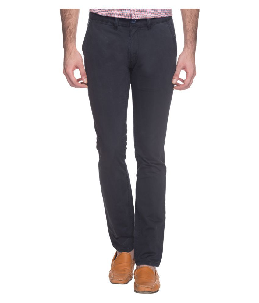 Buffalo by FBB Navy Blue Slim Fit Trousers