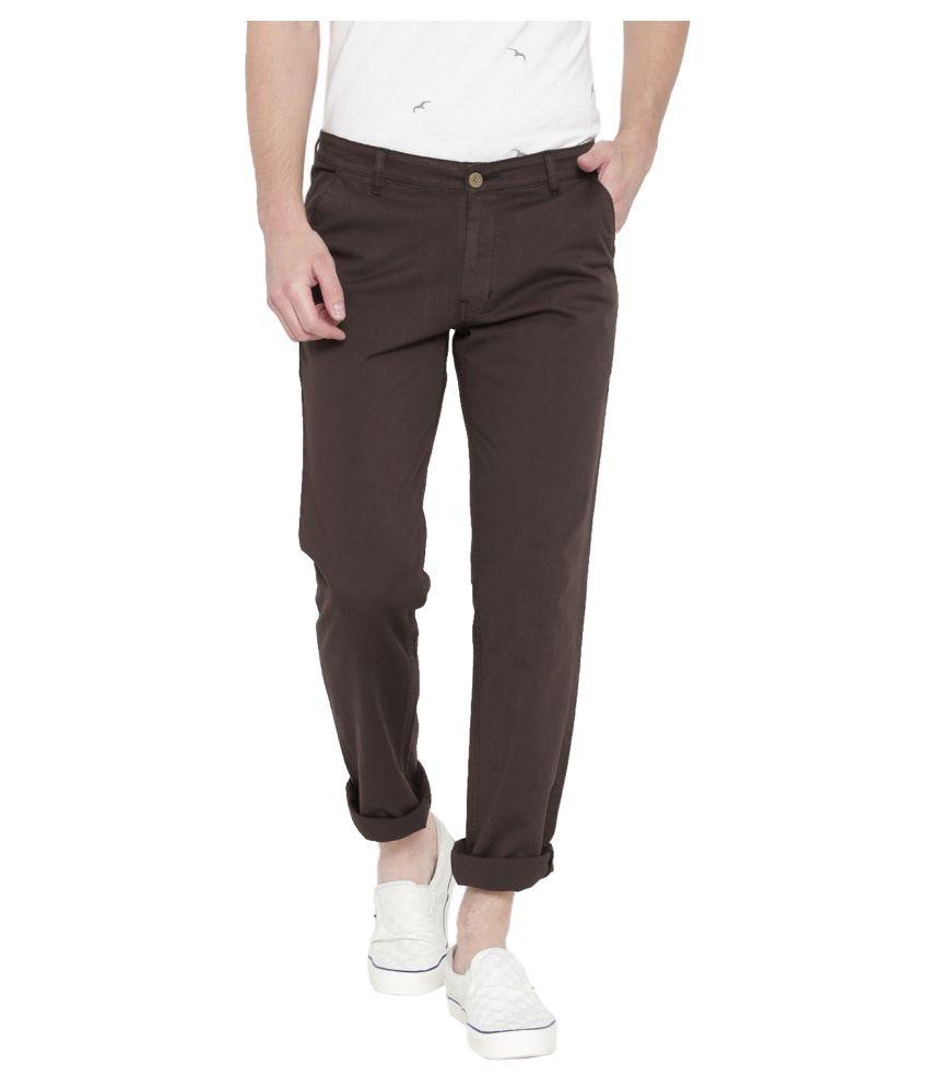 Hubberholme Dark Brown Slim Flat Trousers