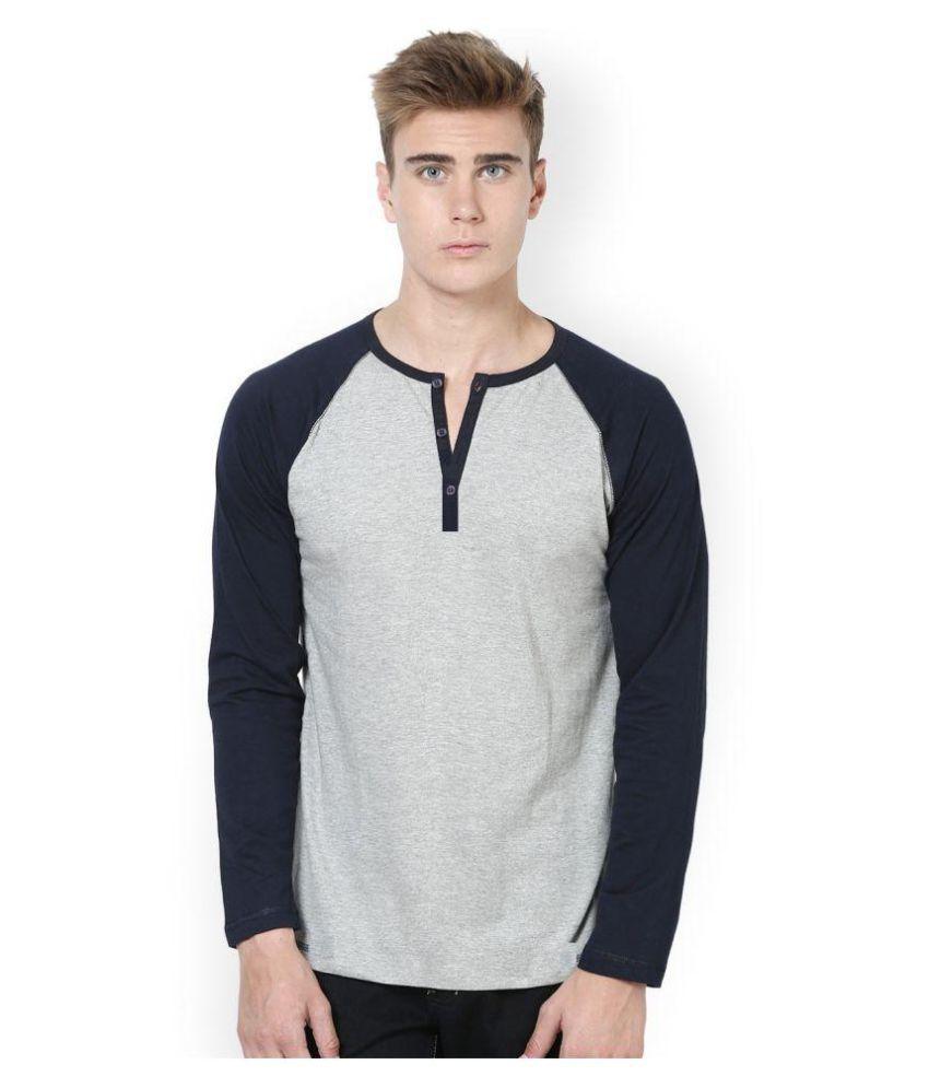 Urbano Fashion Grey Henley T-Shirt