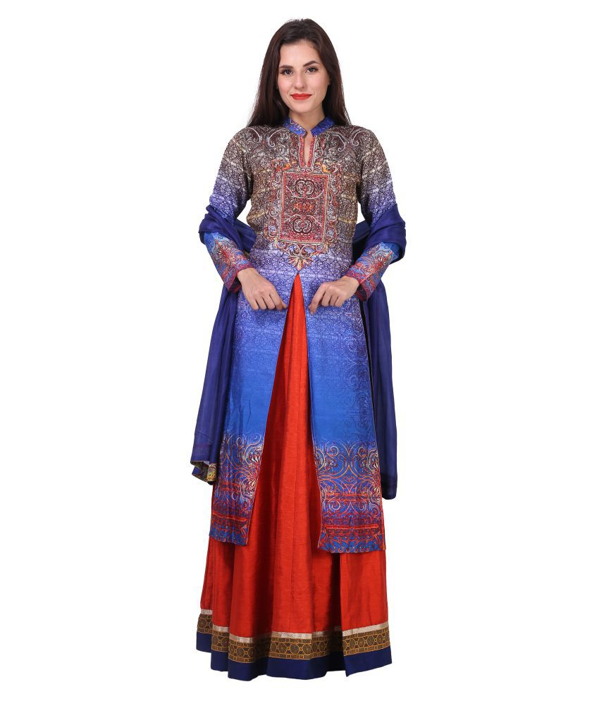 Mini Singh Multicoloured Polyester Straight Stitched Suit