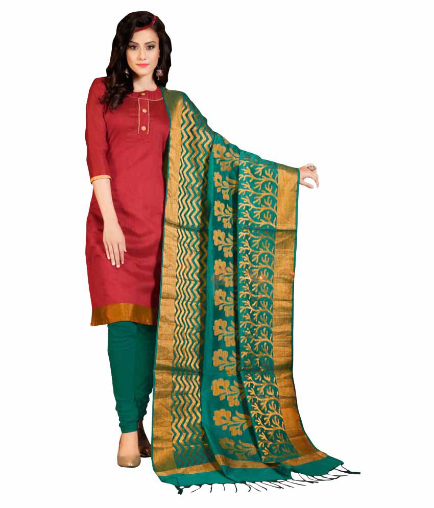 bb9ee9860c Pricebet Green and Red Banarasi Silk Dress Material - Buy Pricebet Green  and Red Banarasi Silk Dress Material Online at Best Prices in India on  Snapdeal