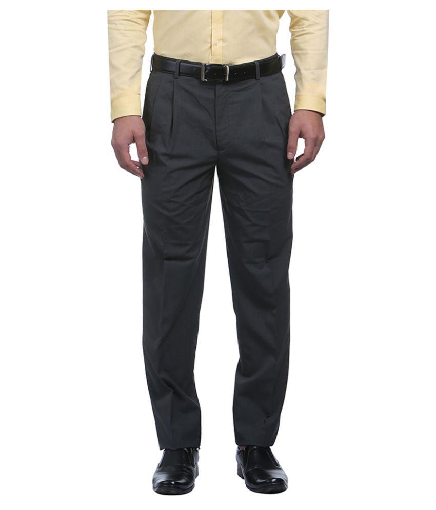 Raymond Black Regular Pleated Trousers