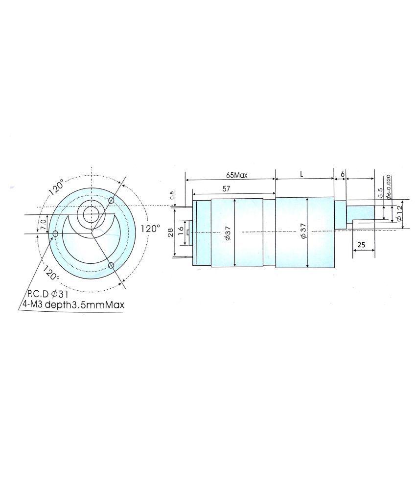 Robodo 12v DC RS-37-555 Side Shaft Gear, Geared Motor - 300 rpm
