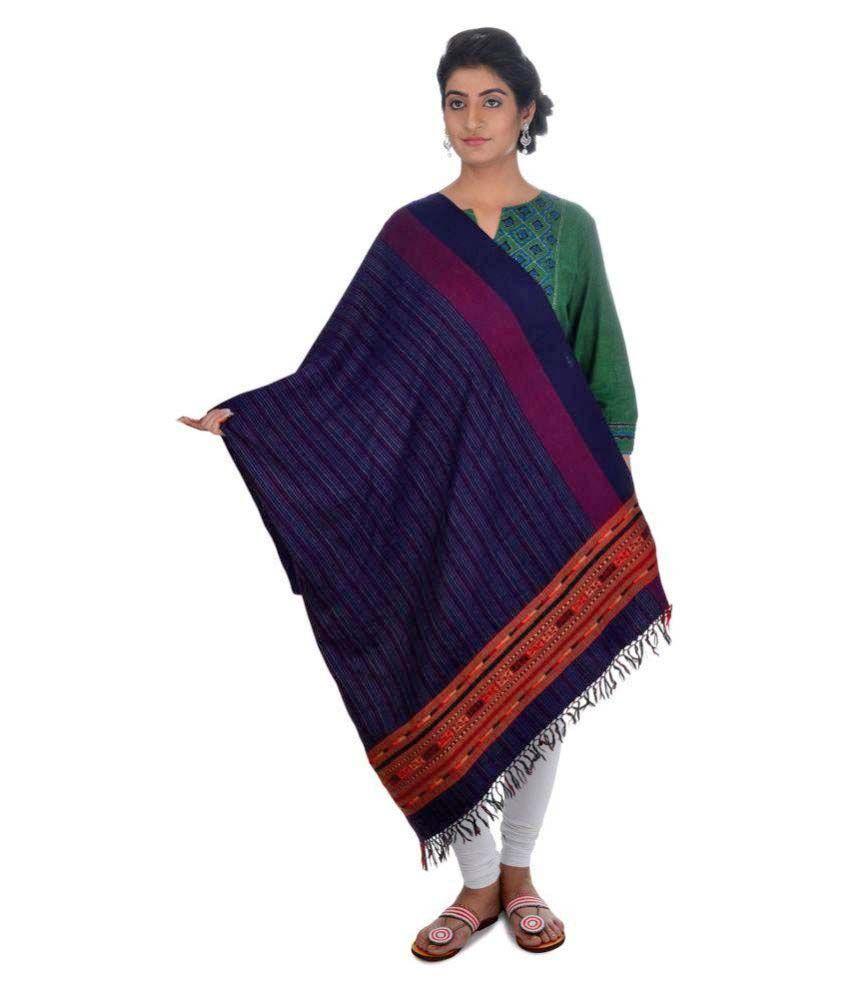 Tribes India Blue Stripes Shawl