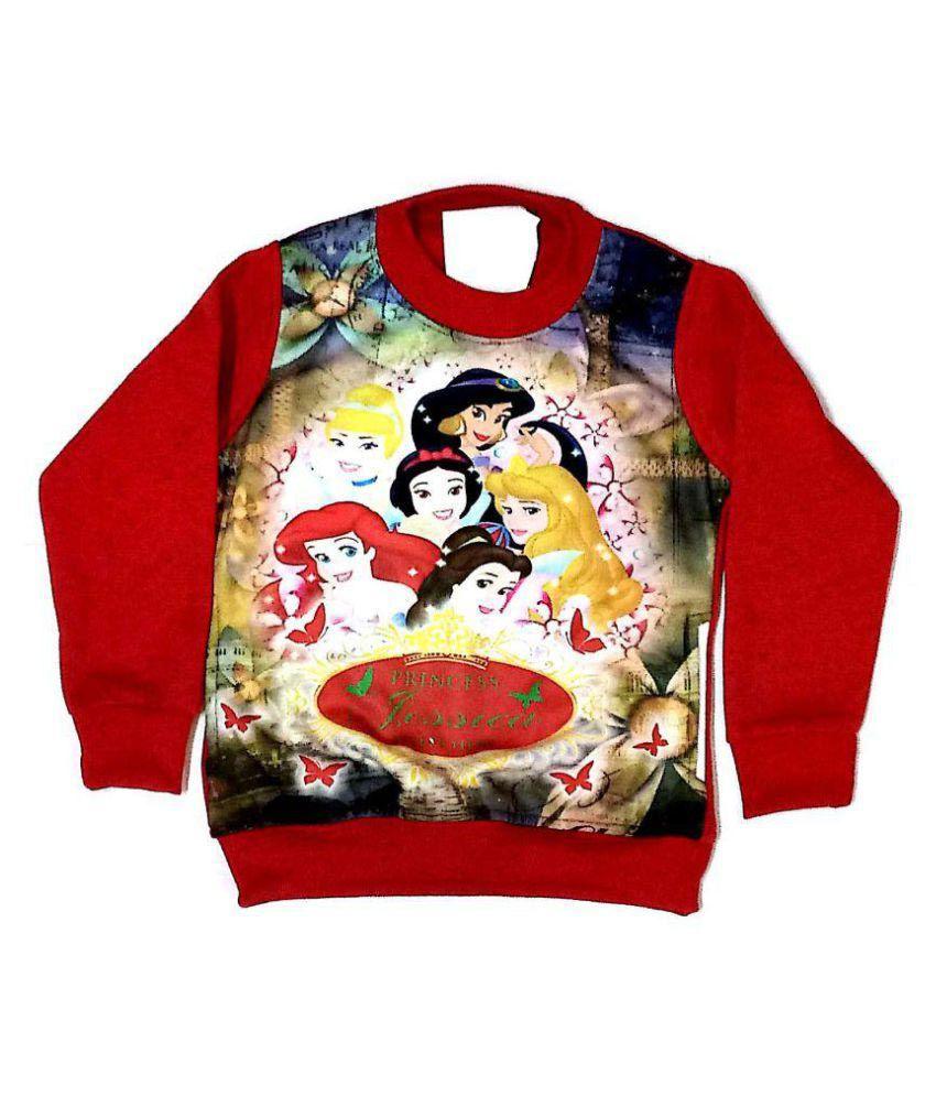 Cuddlezz Red Printed Sweatshirts