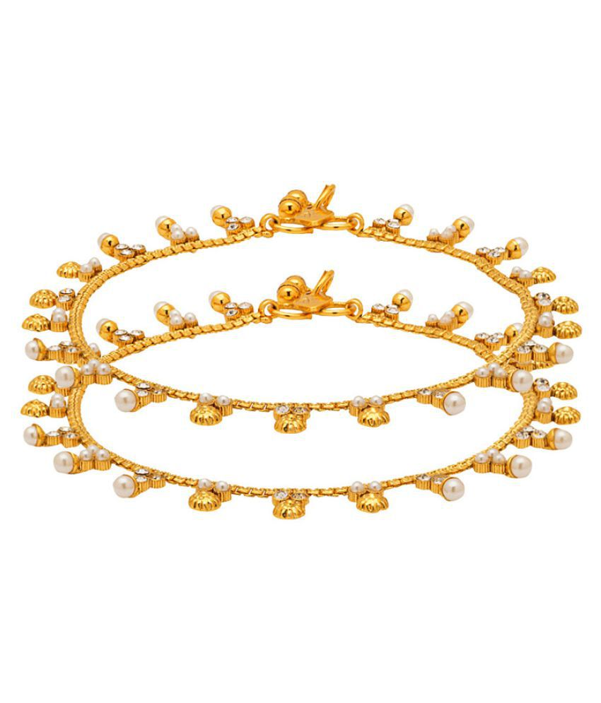 Voylla Golden Alloy Anklet-Pack of 2