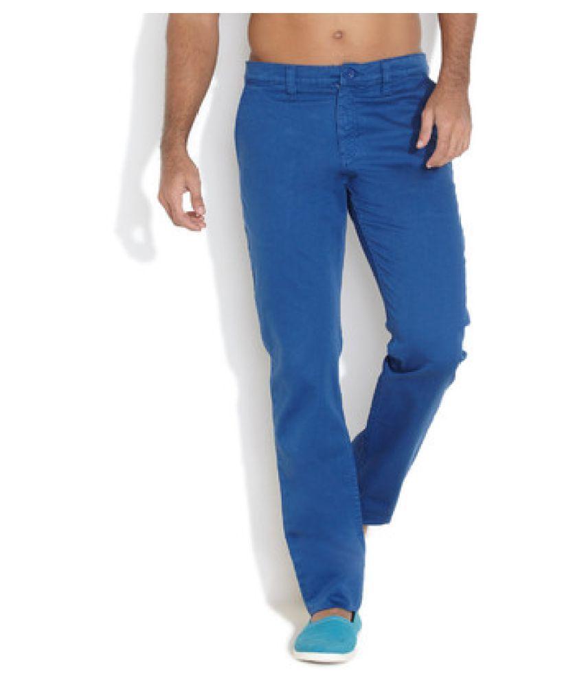 Ferrous Jeans Blue Slim Flat Chinos