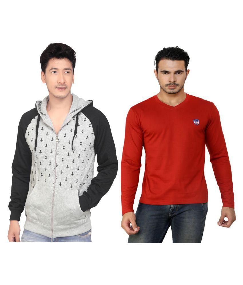 Free Spirit Grey Hooded Sweatshirt with T-Shirt