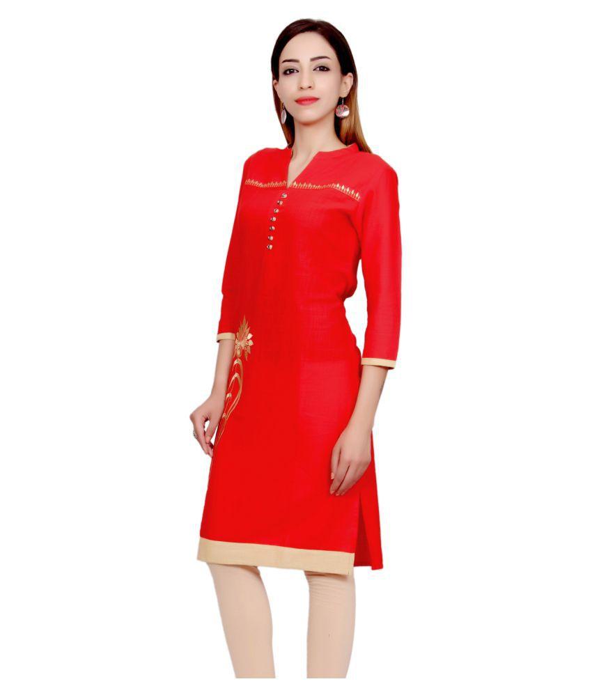 Mokshi Red Cotton Straight Kurti