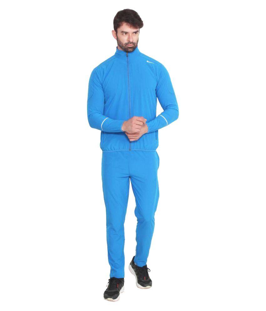 Nike Blue Polyester Lycra Tracksuit Single - Buy Nike Blue Polyester ... 4ce7a2172