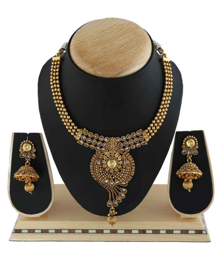 Anuradha Art Golden Alloy Finish Attractive & Beautiful Designer Traditional Designer Necklace Set For Women/Girls