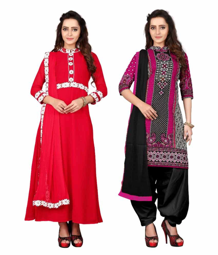 The Four Hundred Multicoloured Georgette Dress Material