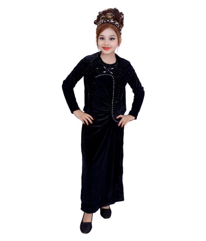 Gungun Creations Black Velvet Gown with Jacket - Buy Gungun ...