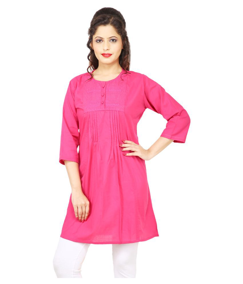 Radhey Collection Pink Cotton A-Line Kurti