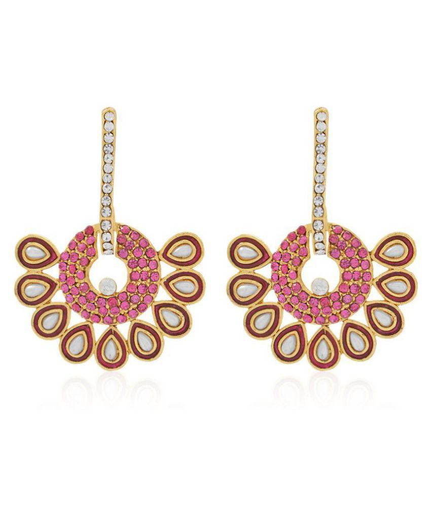 Jewels Capital Golden Pink White Earrings Set