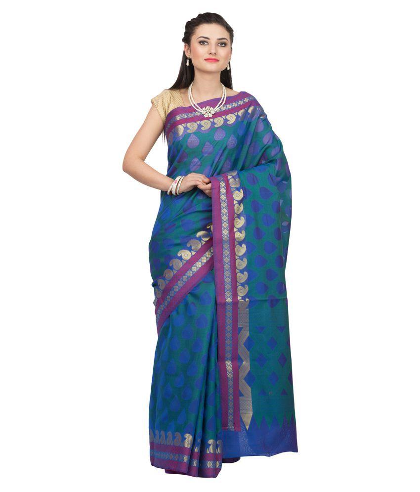 Craftghar Blue Banarasi Silk Saree