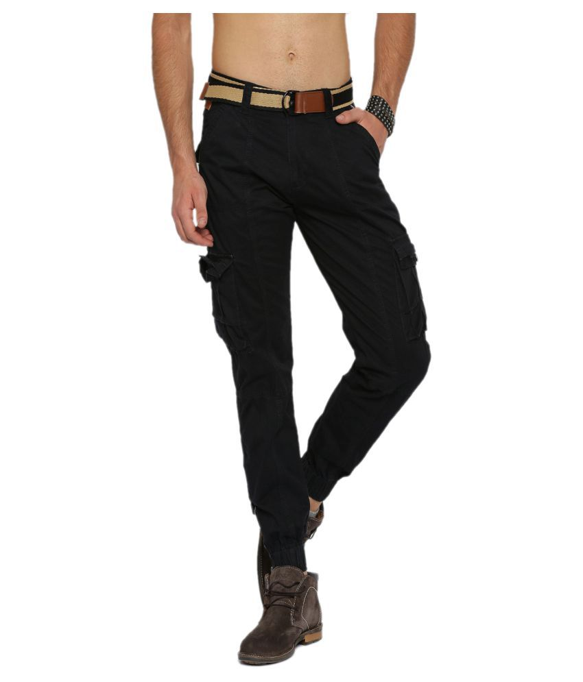 Sports 52 Wear Black Regular Flat Cargos