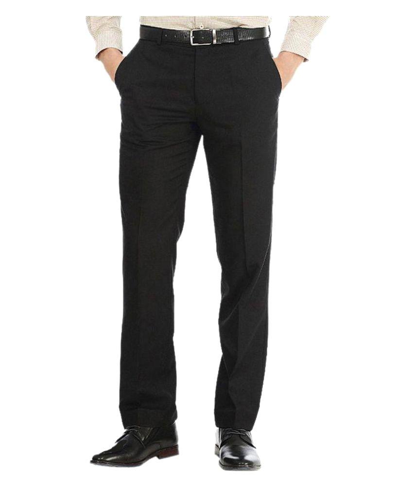 Tarkshyam Trendz Black Slim Flat Trousers