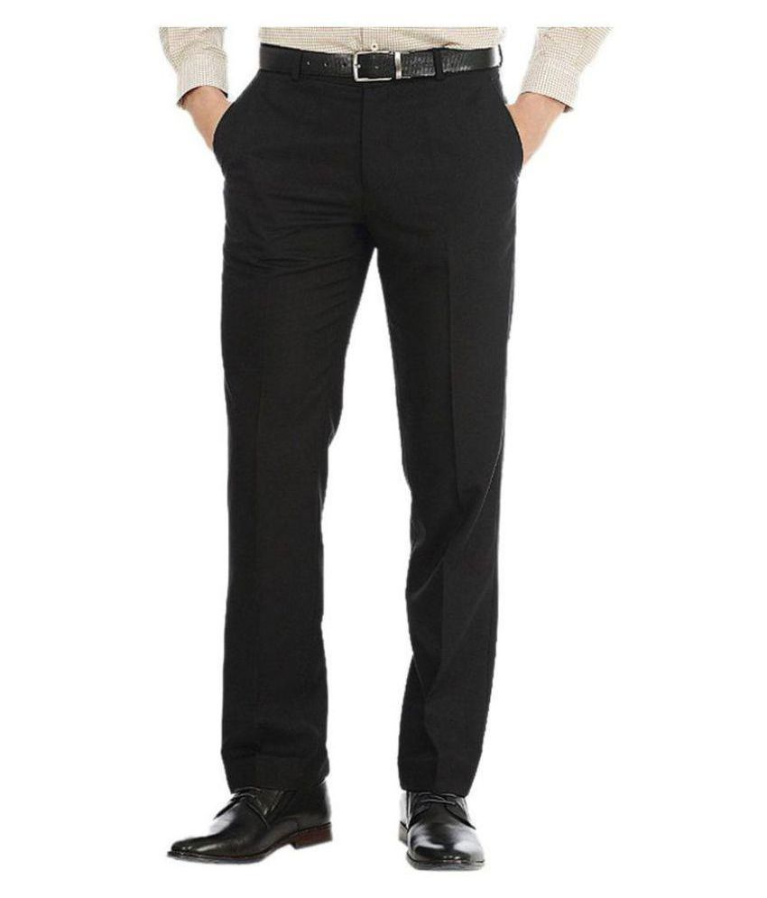 Tarkshyam Trendz Black Slim Flat Trousers