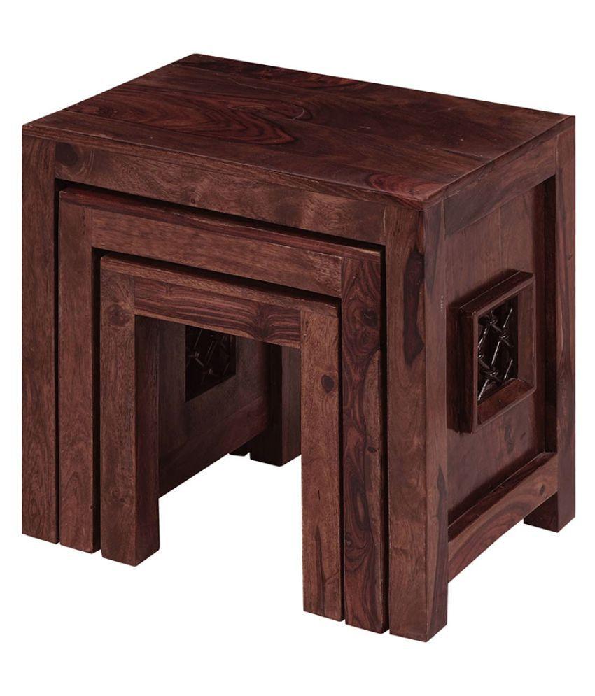 ... Inhouz Jali Solid Wood Nesting Tables   Mahogany ...