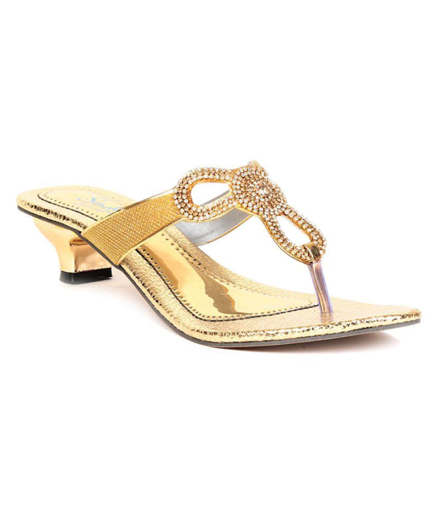 Sindhi Footwear Gold Block Heels