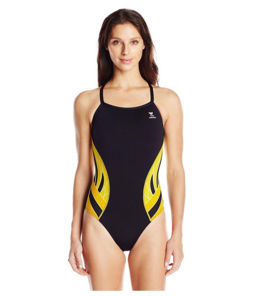 TYR Women Black Polyester Swimsuit/ Swimming Costume