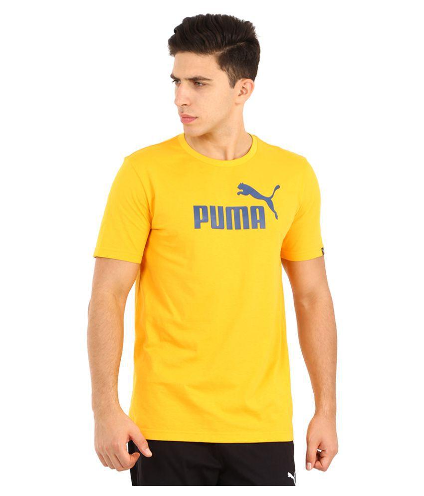 Puma Yellow Polyester T-Shirt