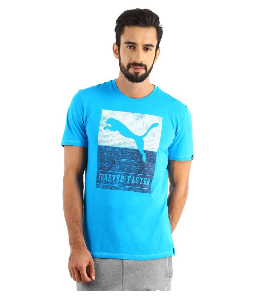 Puma Turquoise Polyester T-Shirt