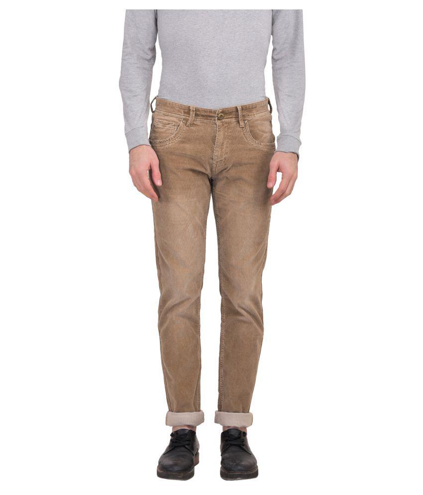 Urbantouch Beige Regular Flat Trousers