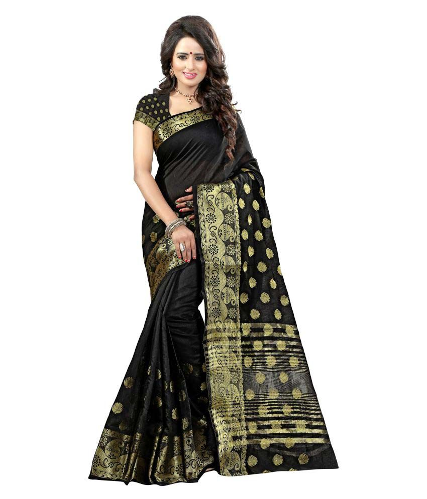 Greenvilla Designs Black Polycotton Saree