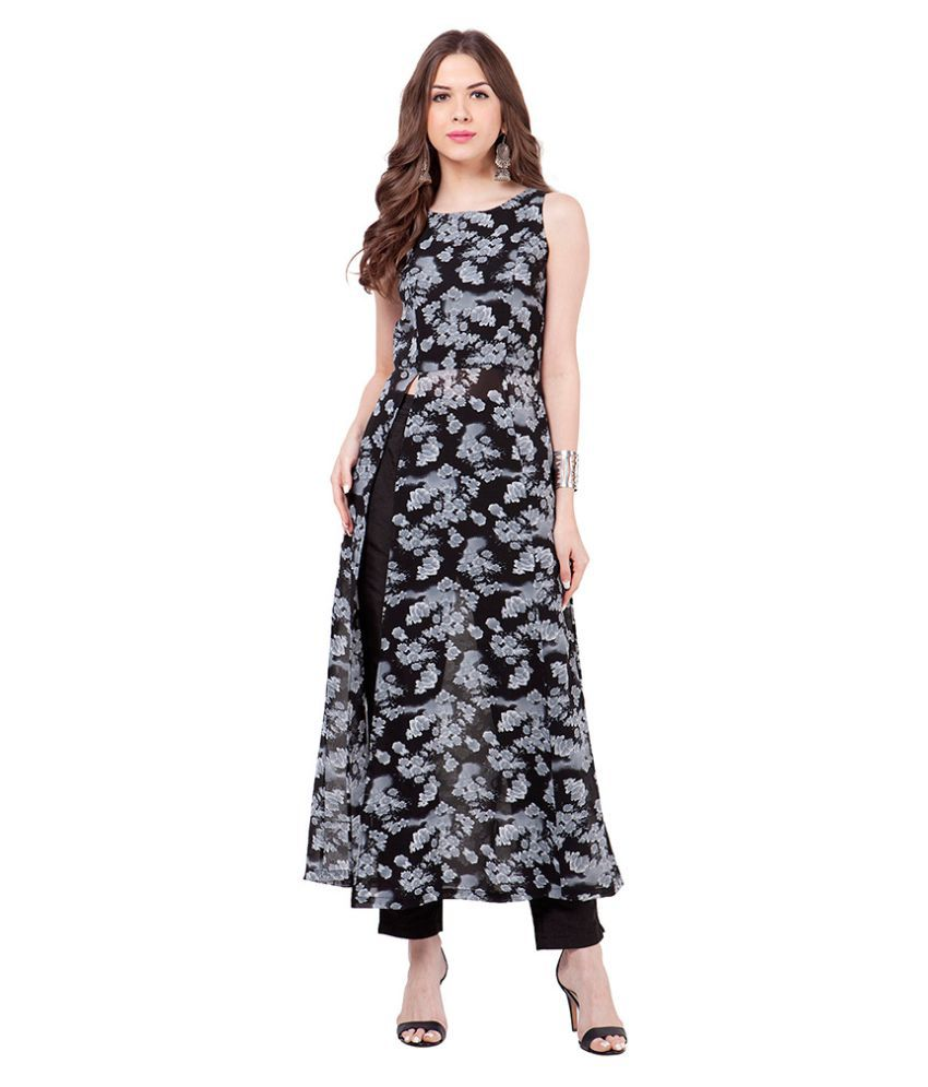 09818c8434d Faballey Indya Black Georgette Front Slit Kurti - Buy Faballey Indya Black  Georgette Front Slit Kurti Online at Best Prices in India on Snapdeal