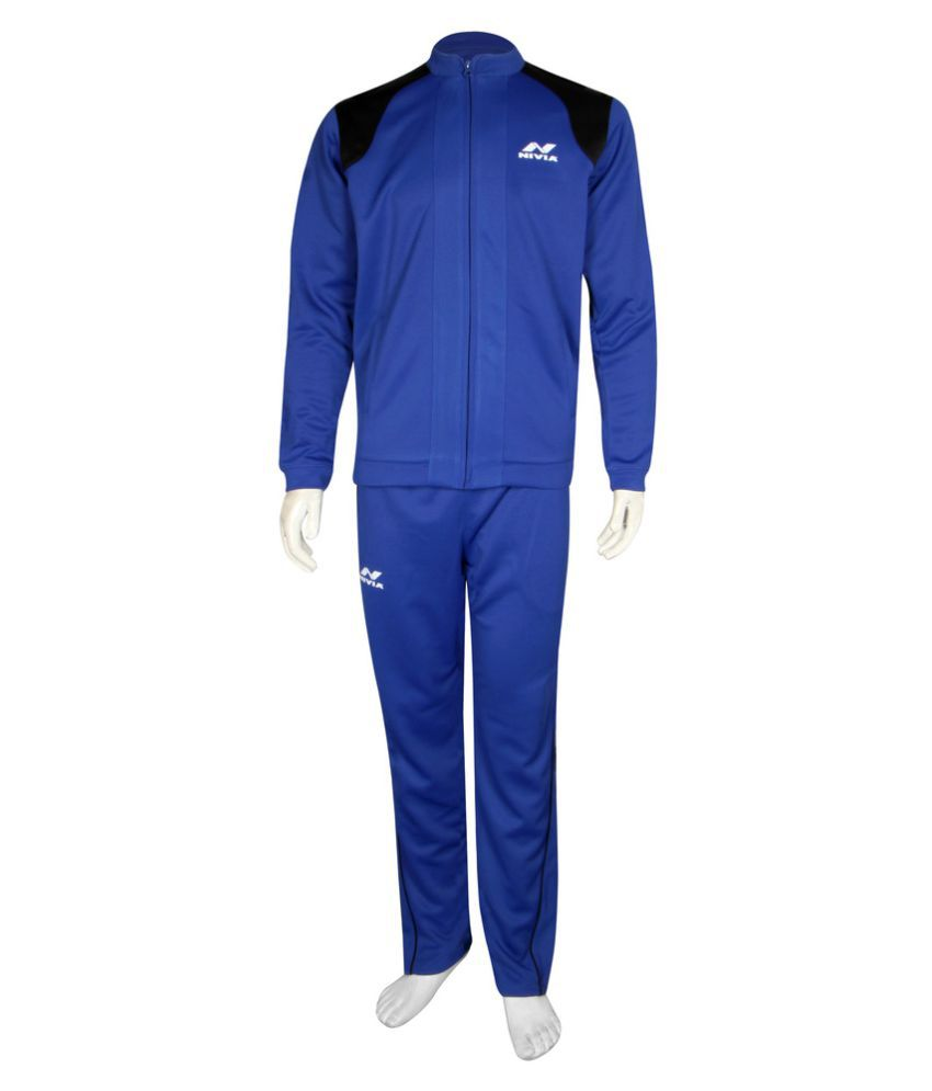 Nivia Blue Polyster Tracksuit