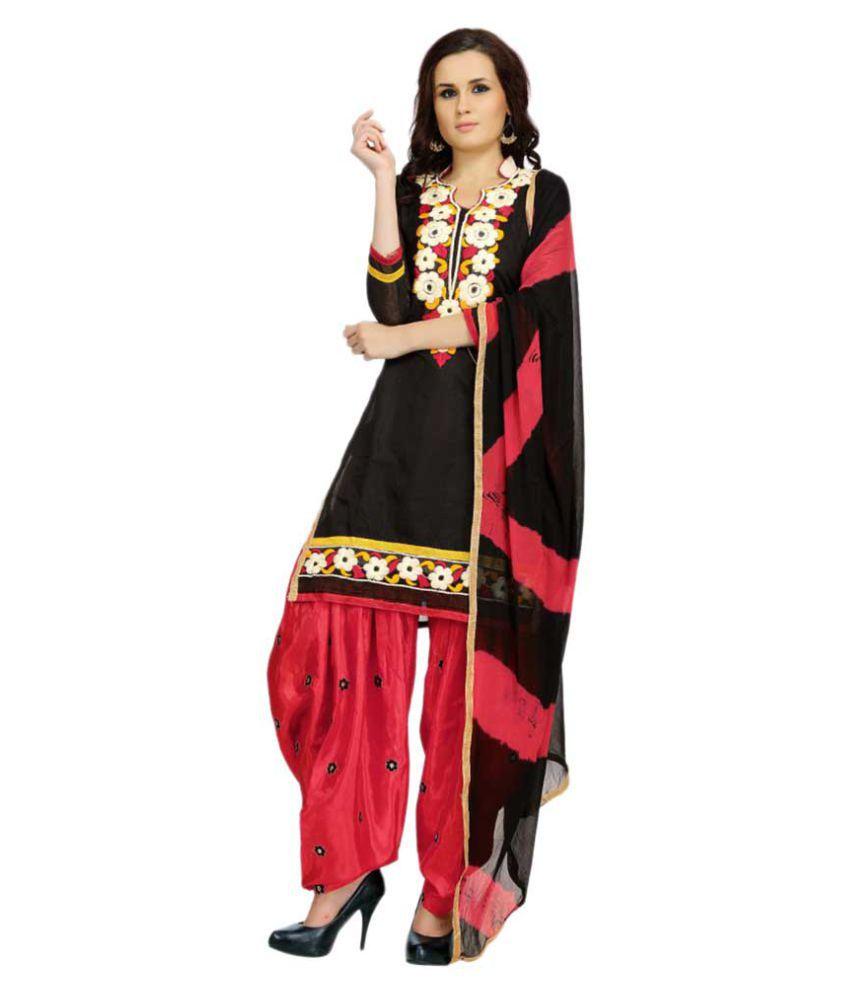 Zory Black Chanderi Dress Material