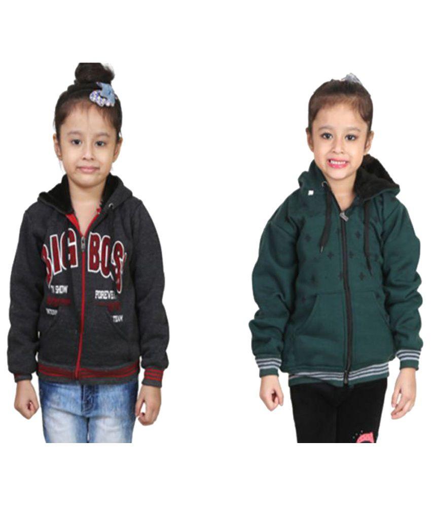 Qeboo Multi Color Fleece Sweatshirts Pack of 2 For Gril's