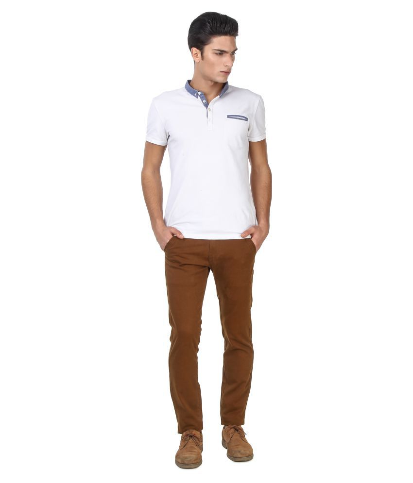 Oiin Brown Slim Flat Chinos