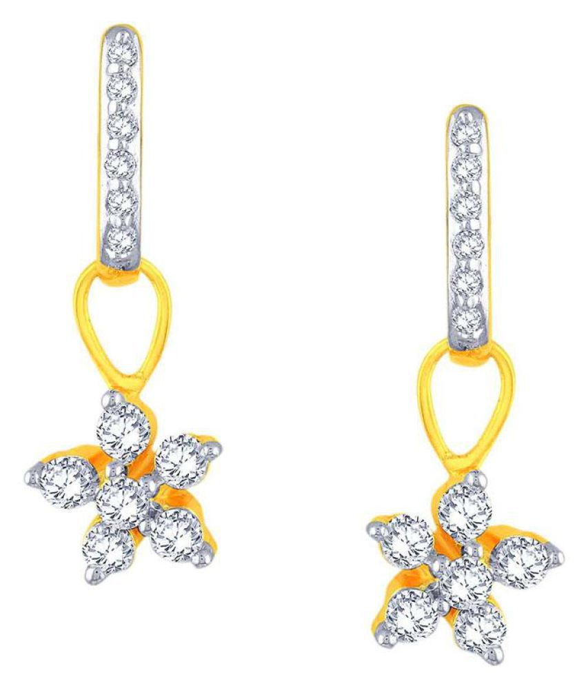 Nakshatra 18k BIS Hallmarked Yellow Gold Diamond Drop Earrings