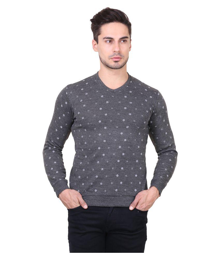 Bravezi Grey V-Neck T-Shirt