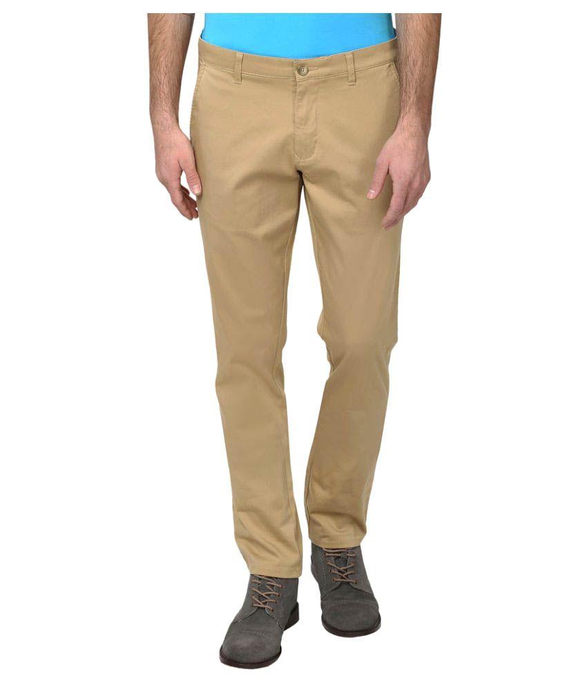 Parx Beige Regular Flat Trousers