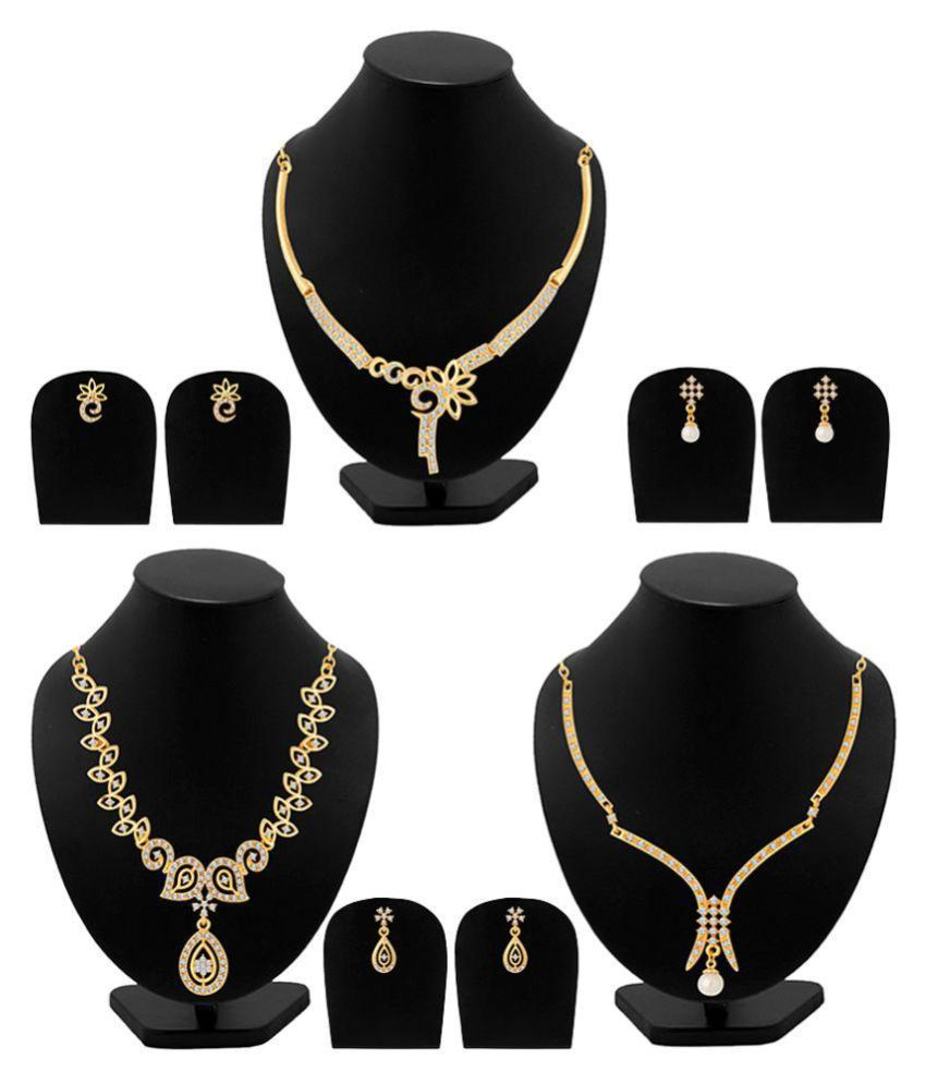Voylla Golden Alloy Necklace Set Combo