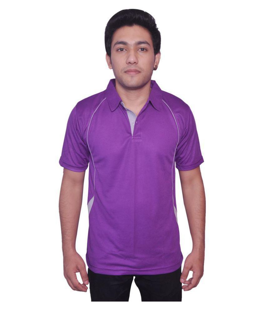 Dyed Colours Purple Polyester T-Shirt