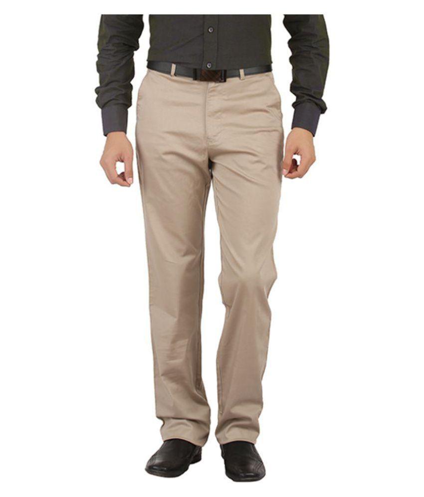 Tibre Beige Regular Flat Trousers