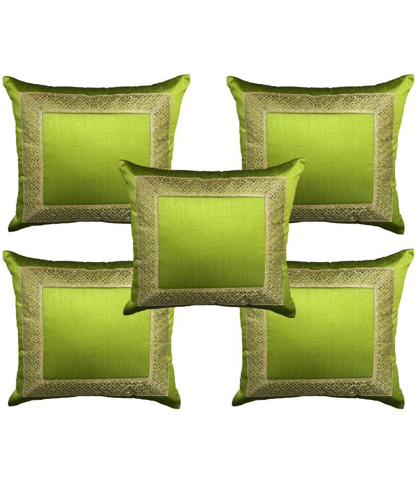 Home Shine Set of 5 Poly Dupion Cushion Covers