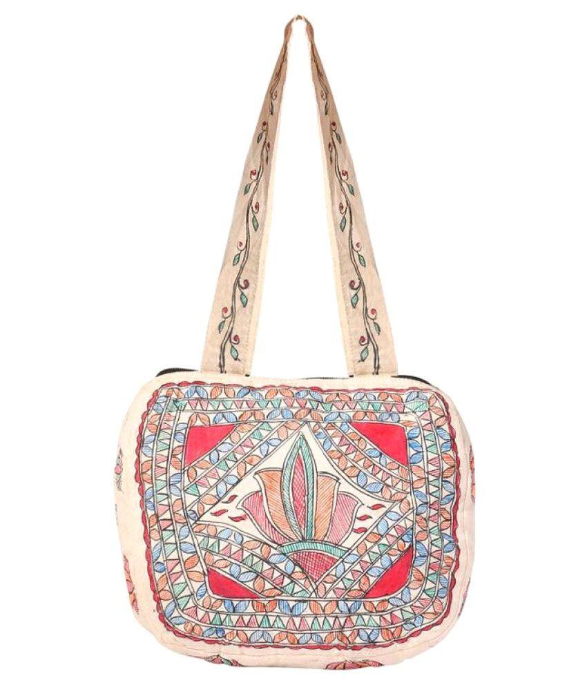 iMithila Cream Cotton Shoulder Bag