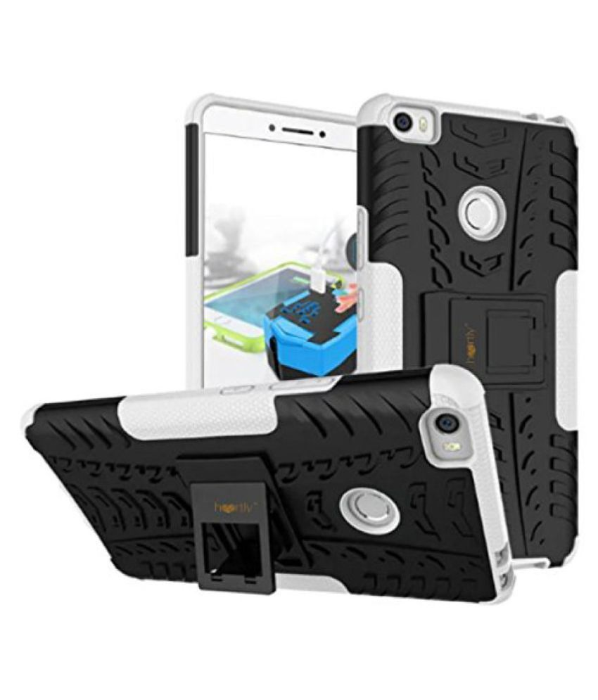 Heartly Tough Hybrid Flip Kick Stand Spider Hard Dual Shock Proof Rugged Armor Bumper Back Case Cover For Xiaomi Mi Max - Best White