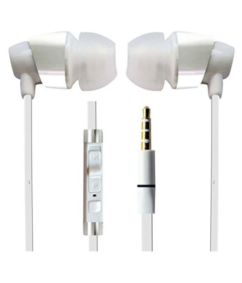 Hello Zone Sporty look and Comfort Fit Stereo Headset Handsfree Headphone Earphone with Mic 3.5 MM Jack for Xiaomi Redmi 3S Prime -White