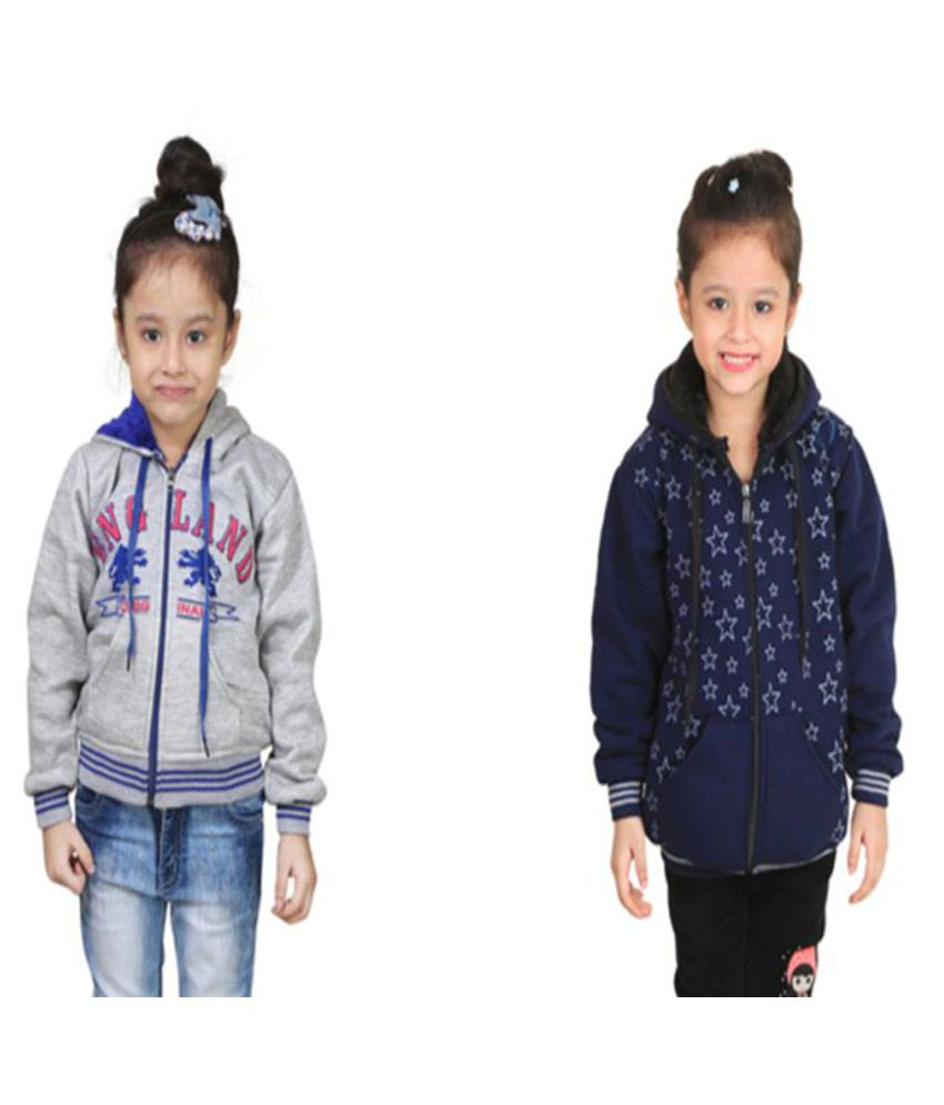 Qeboo Multicolor Fleece Sweatshirts - Pack of 2