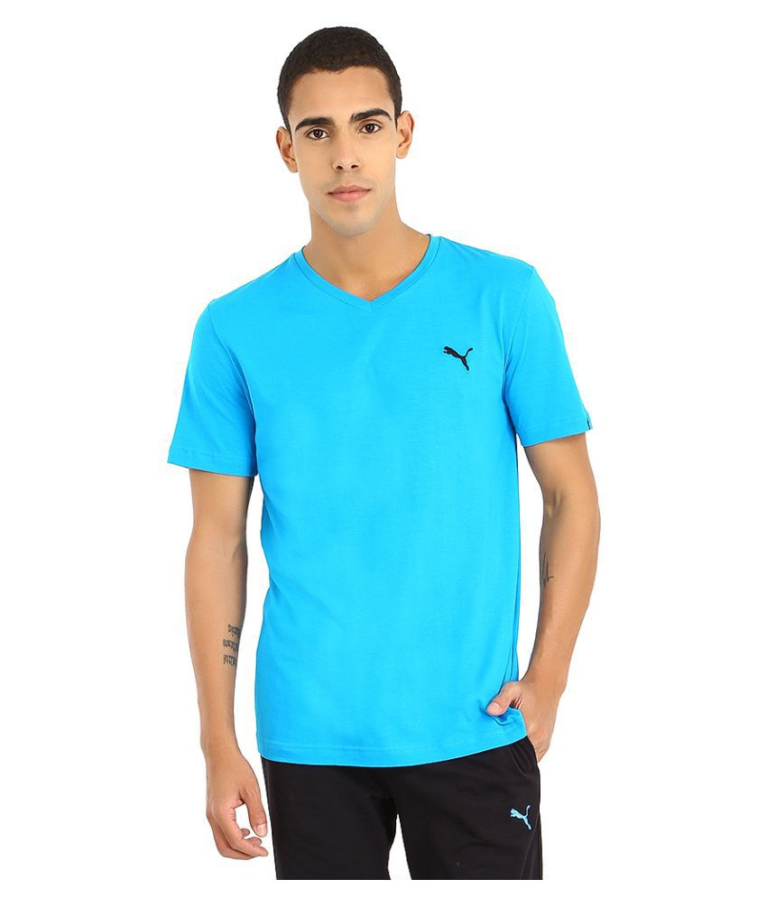 Puma Turquoise Polyester Polo T-Shirt